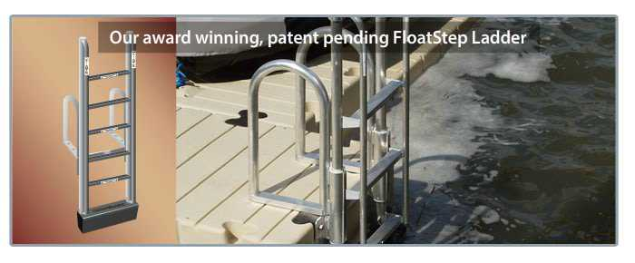floatstep ladder attached to an EZ dock