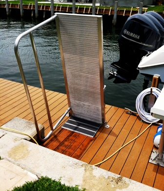 aluminum boatlift boarding ramp in up position