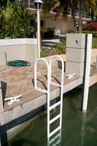 picture of a powder coated, 5 step fixed dock ladder