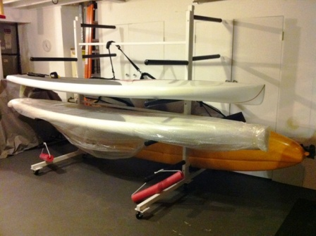 custom combination SUP board and kayak storage rack