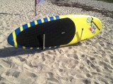 The latest addition to our SUP board rack line is the portable beach model. This board rack simply spikes into the beach sand and stores your board on a rail keeping it clean and ready to go.