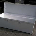 fiberglass dock box with open lid