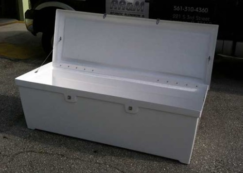 fiberglass dock box with open lid, one of two new dock products