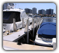 Aluminum Fender Brackets installed on both sides of an aluminum dock