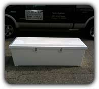 white fiberglass dock box