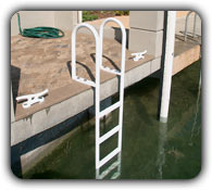 picture of a fixed ladder attached to a dock