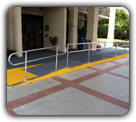 aluminum railings at a hotel entrance