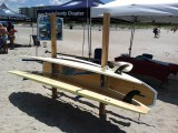 SUP Board Rack installed on the beach.