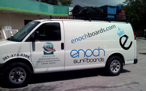 custom aluminum van racks for Enochboards.com van